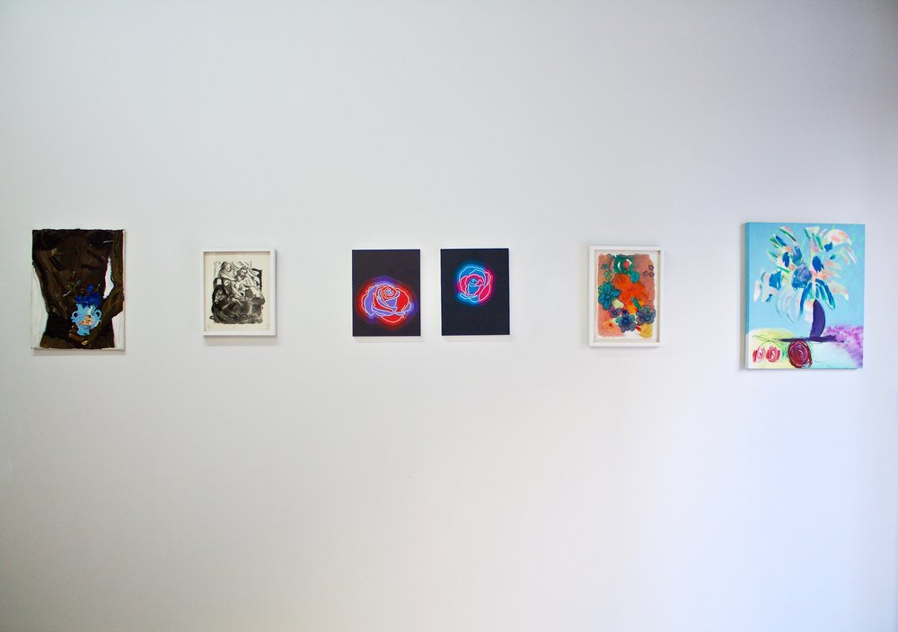 PUPPIES & FLOWERS  Royal Society of American Art, Brooklyn, NY Crated by Katie Hector March 4 – 31, 2019  Left to right: Katarina Janeckova, Delphine Hennelly, Aliza Morell, Delphine Hennelly, Jenn Dierdorf