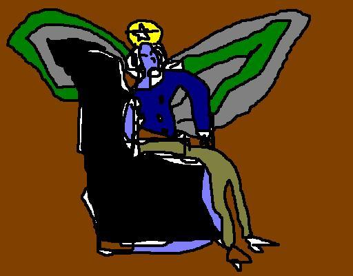 Ange assis dans un fauteuil, ayant du mal à y rester
