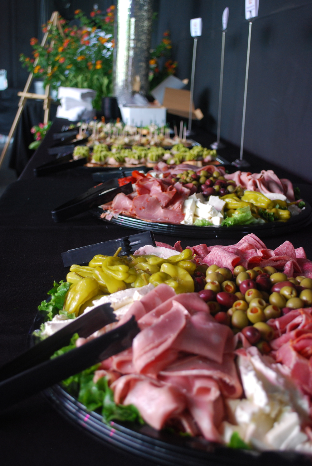 Antipasta trays at River Breeze Wine Tasting Event catered by Adrienne and Co.
