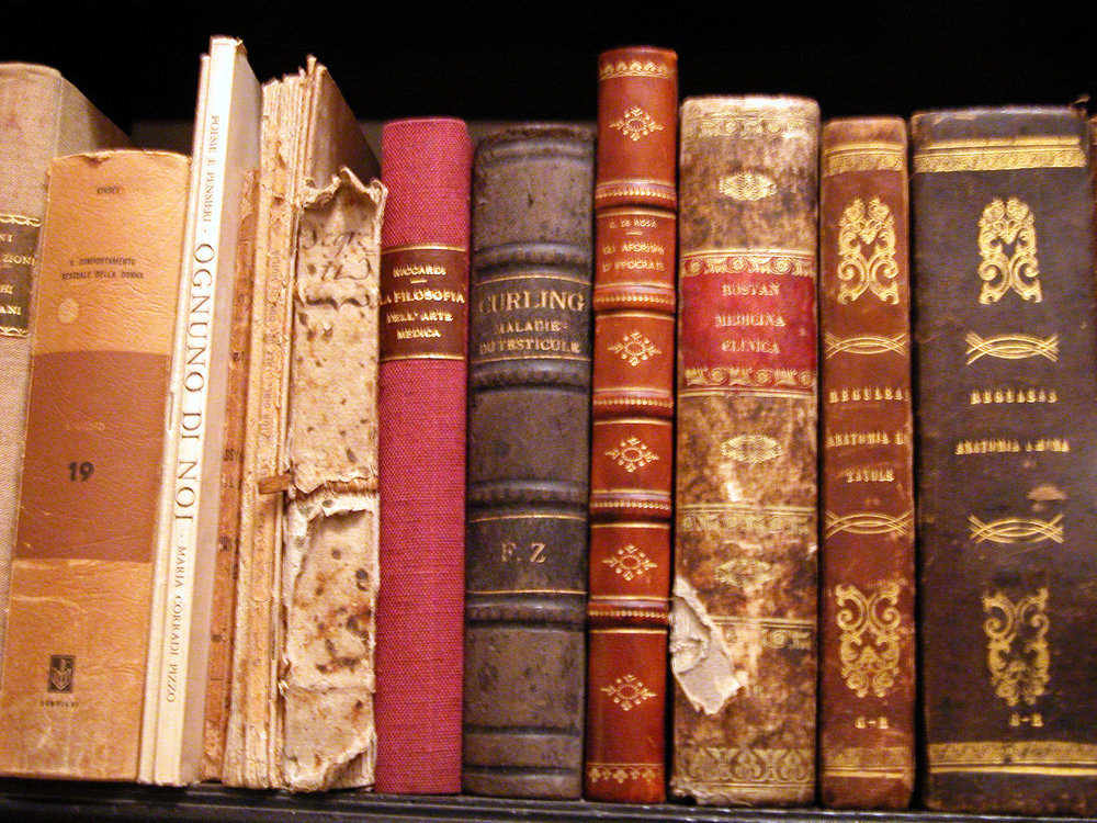 Vintage library books on a shelf