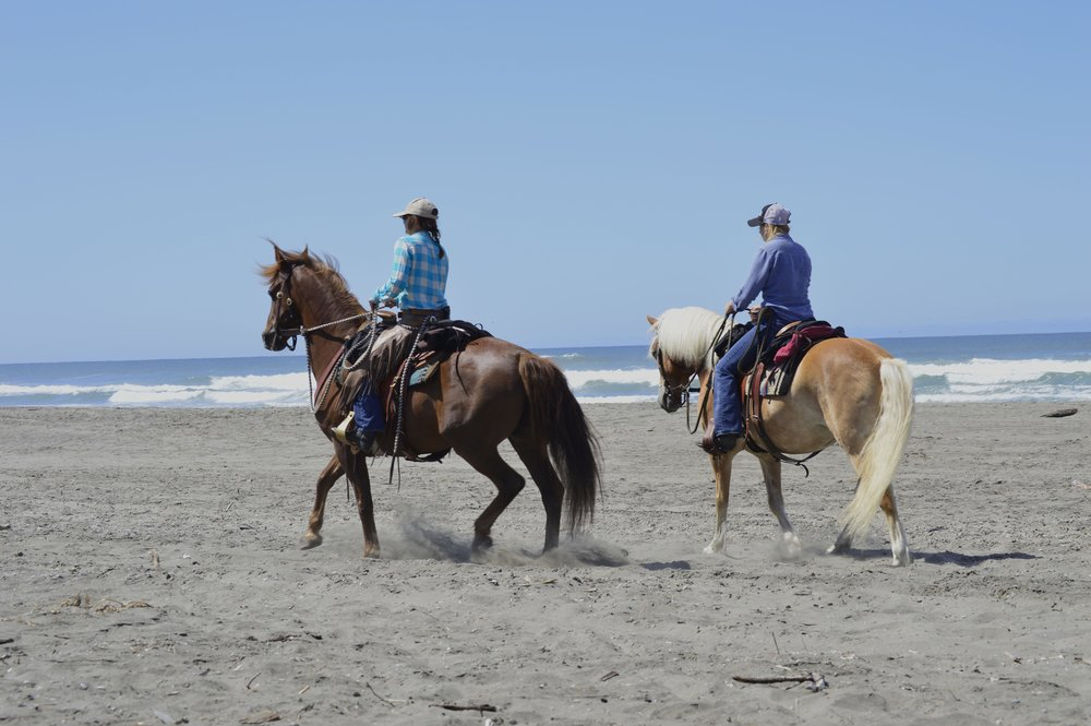 Two horseback riders on a beach with the ocean and waves in the background