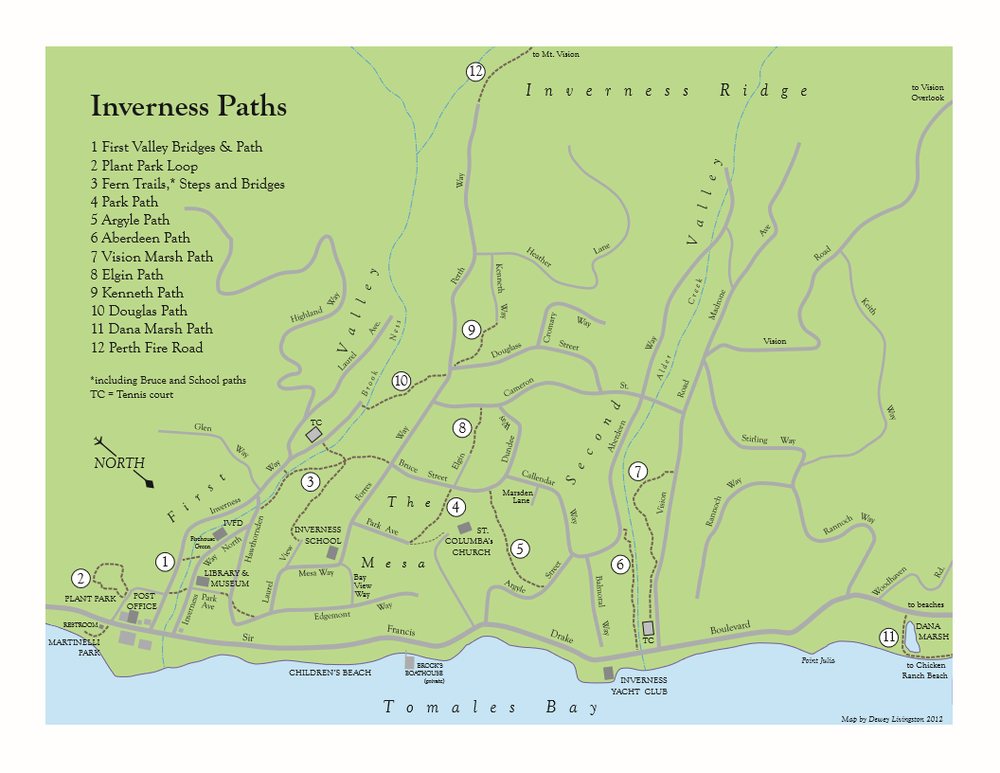 Map of hiking paths and trails in and around Inverness, CA