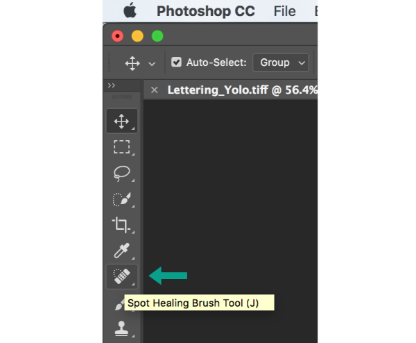 The Spot Healing Brush Tool is on the left navigation bar