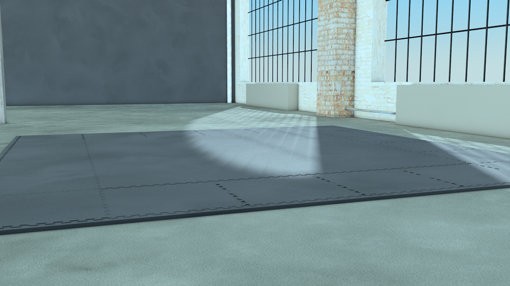 Yoga Scene Pre-production 3D Render I created the 3D render of the fitness mat room