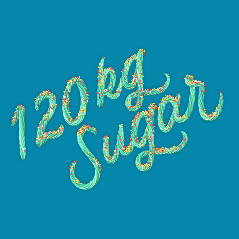 """120 kg Sugar"" 3D type icing lettering with sprinkles by Noah Camp"
