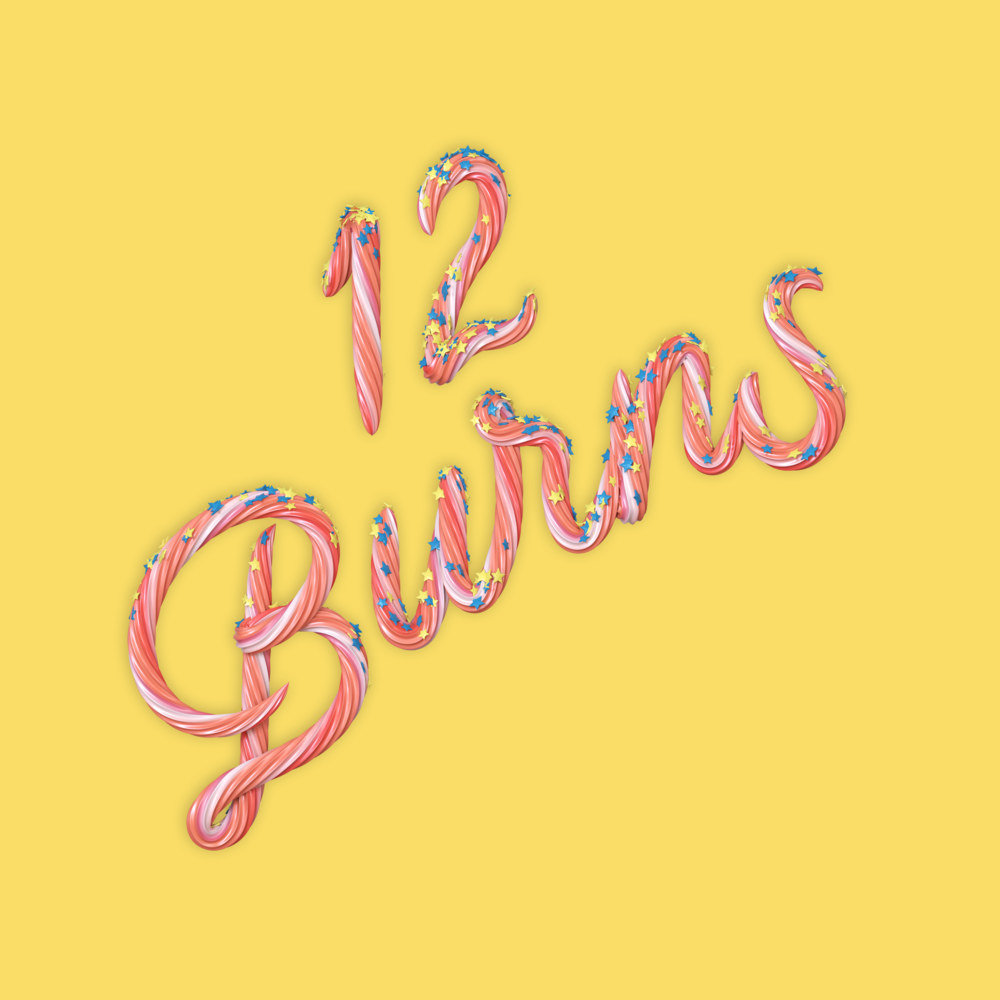 """12 Burns"" 3D type icing lettering by Noah Camp"