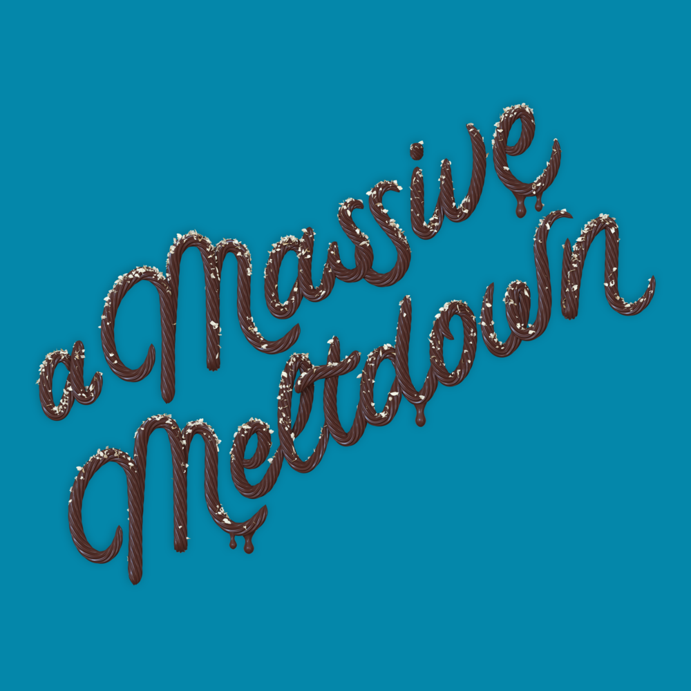 """A Massive Meltdown"" 3D type lettering made of chocolate icing by Noah Camp"