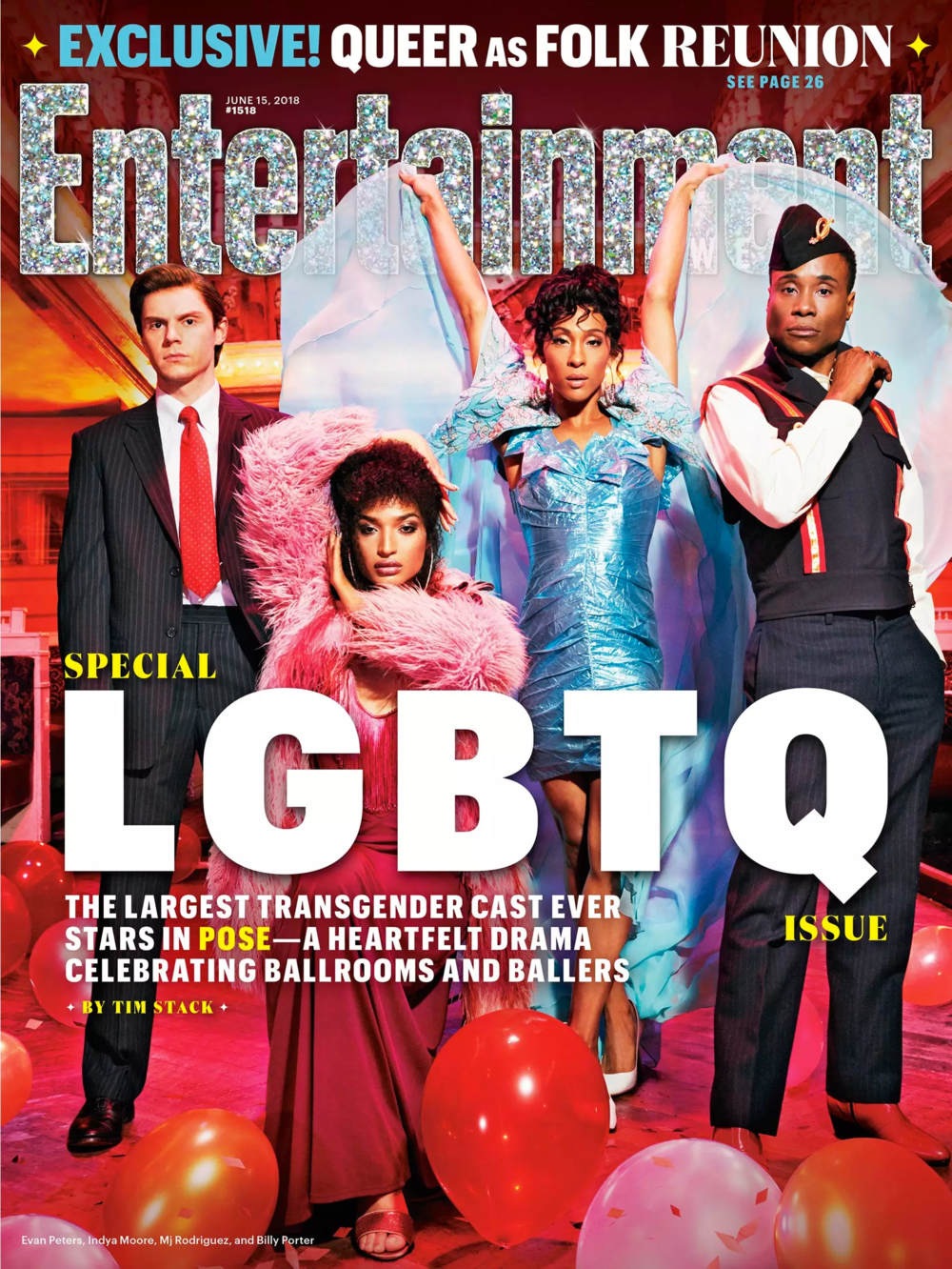 Entertainment Weekly Logo Treatment - Entertainment Weekly asked me to do a special logo treatment for their annual LGBTQ issue. The cover features the new show Pose, set in the 1987 New York ballroom scene. To match the extravagant photo, and give a tasteful nod to pride, EW asked for a glittery, sparkly version of their logo.