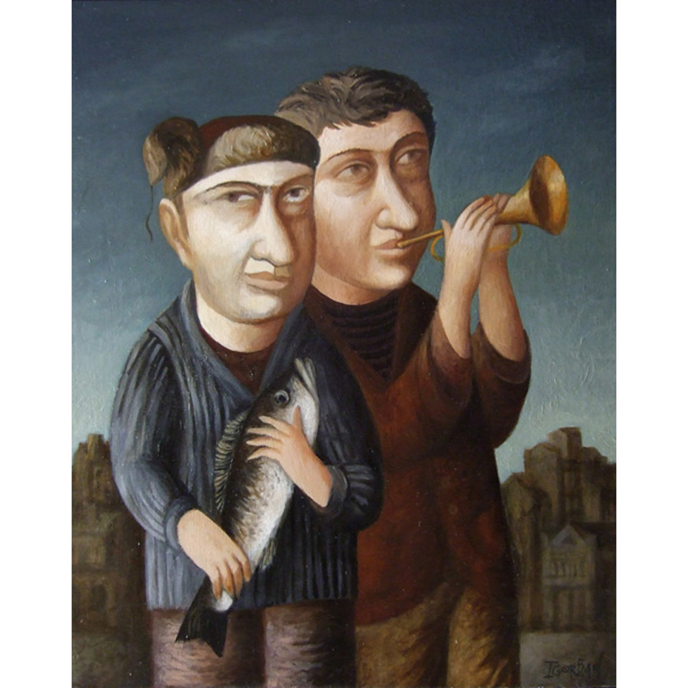 """Angler and Trumpet Player,  19""""x15"""", oil on panel,"""