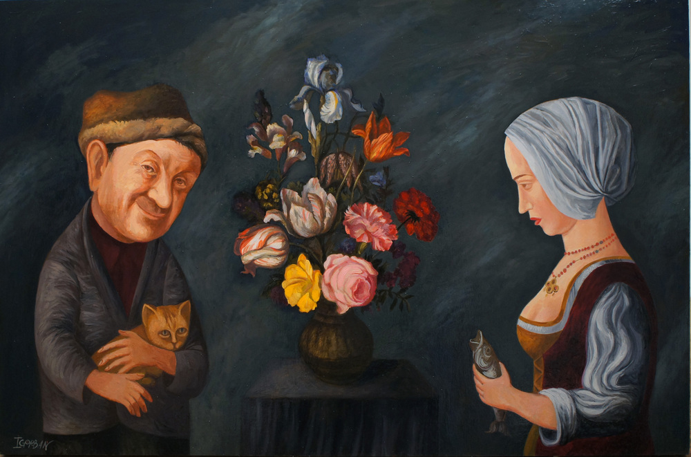 """Attractive Characters drawn with a Bouquet of Flowers. 24""""x36"""", oil on panel"""