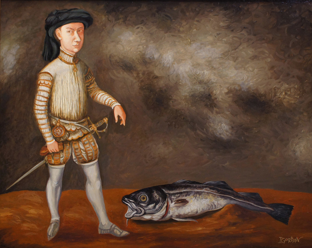 """Painted image of Guard and Tuna, 24""""x30"""", oil on canvas"""