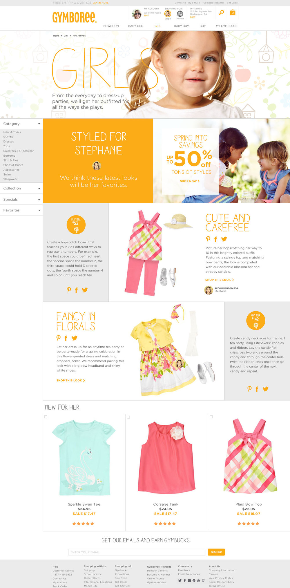 Gymboree Responsive Commerce Category