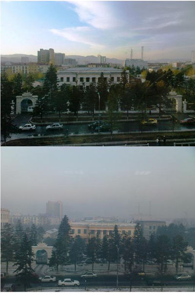 Ulaanbaatar in May (top) and December (bottom)