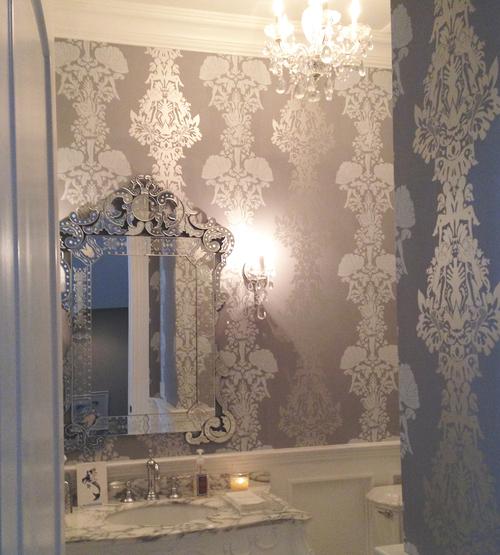 peep show wallpaper, powder room blue — melissabamberhome