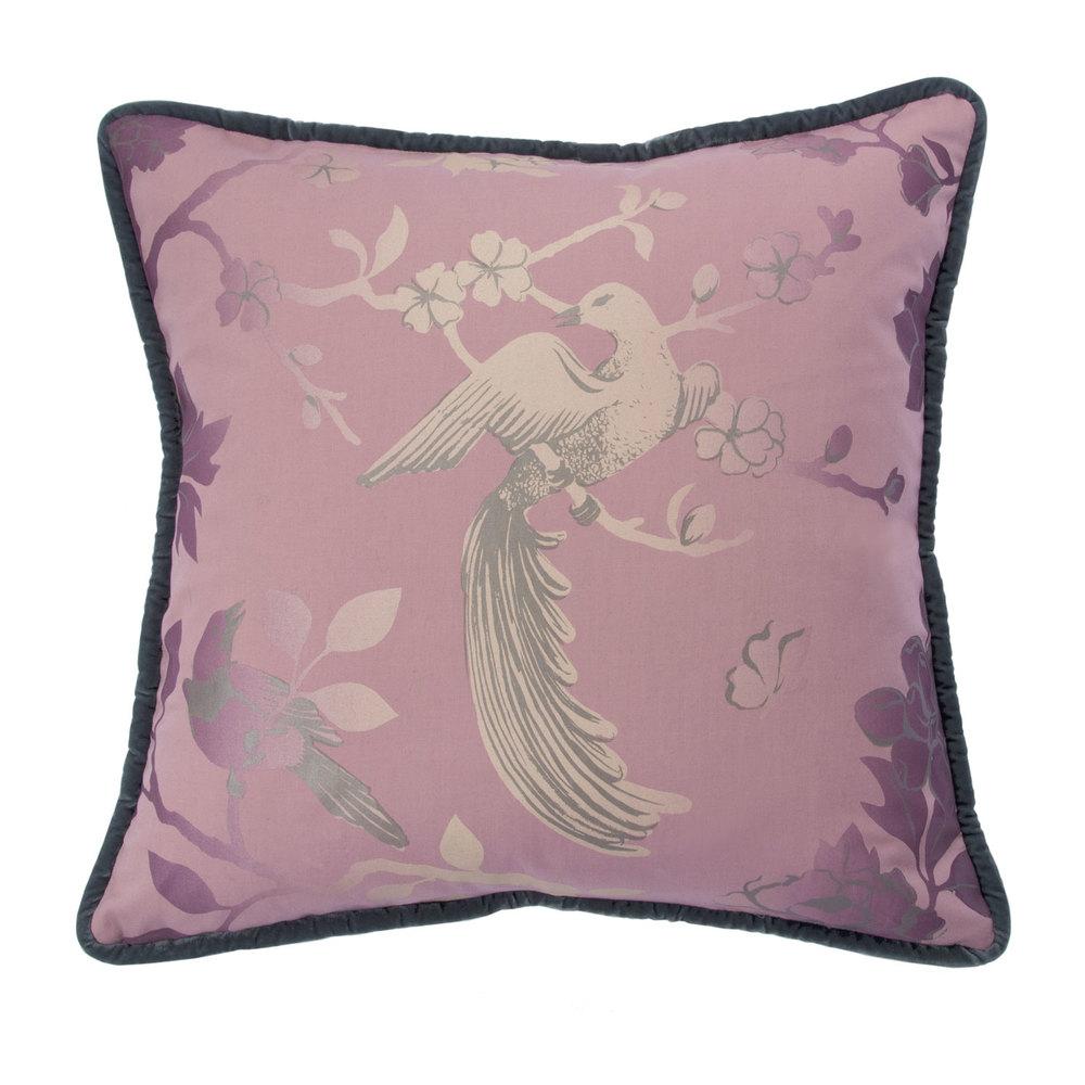 """Bird Song, 19"""" pillow, Pink"""