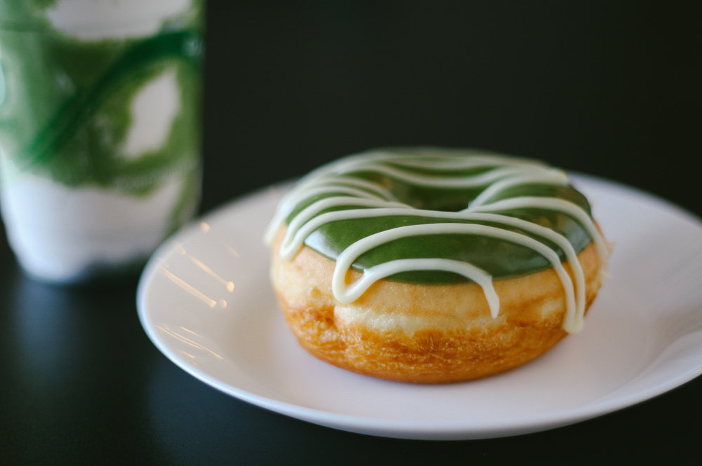 At Morningstar, trying out their Matcha donut and Matcha float.
