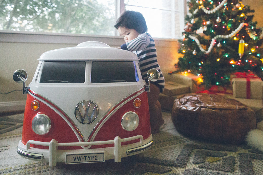 We bought Sebastian this beautiful red VW bus. He's a little young but we couldn't resist.