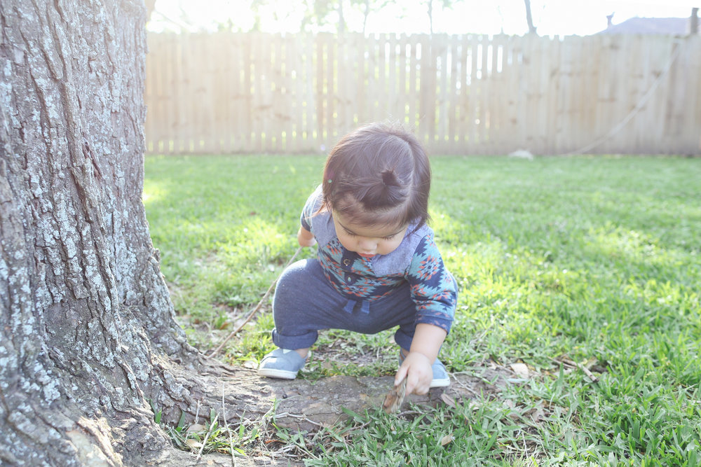 My little explorer, Sebastian loves to play outside.