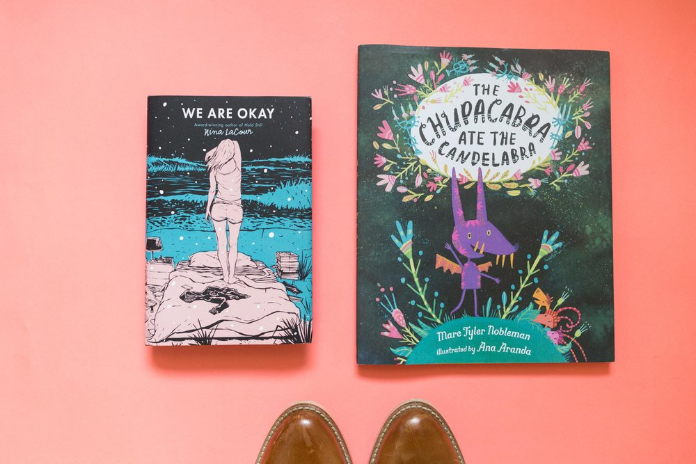 Bought one book for me and one for Bash. Follow Ana Aranda for her incredible illustrations.  We are Okay by Nina LaCour and The Chupacabra Ate The Candelabra by Marc Tyler Nobleman