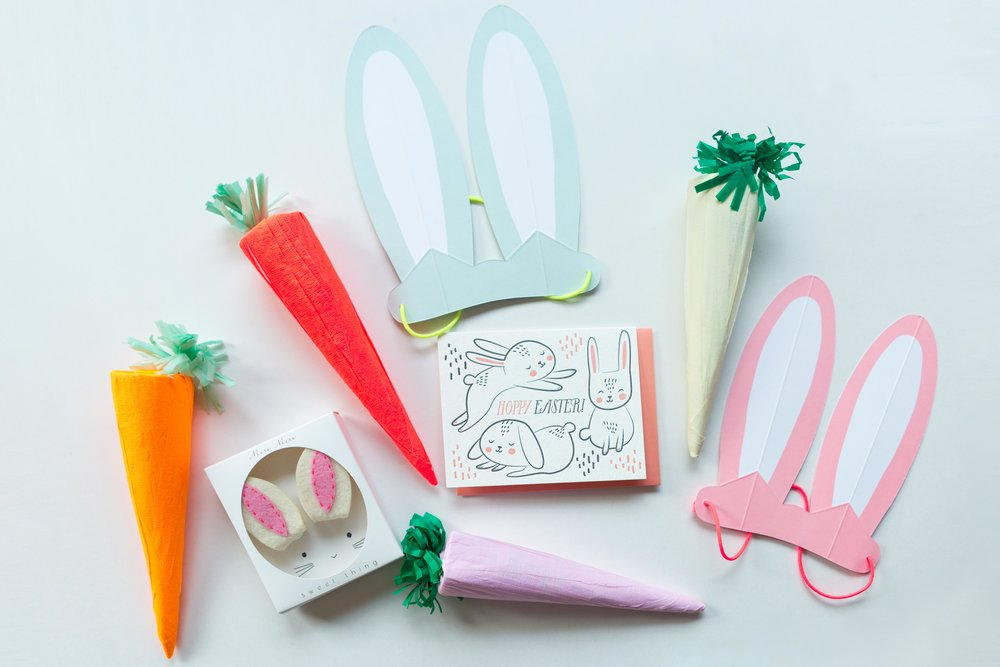 Paper Carrots Hair Clips, Happy Easter Card and Bunny Ears,