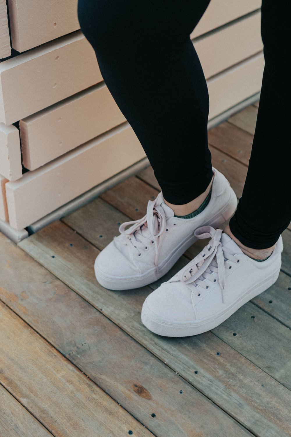 Blush sneakers from H&M;  they are super cute and under $30.