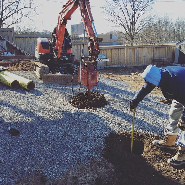 Deck footings #deckbuilding#kubota#mini#excavation#petrie#contracting