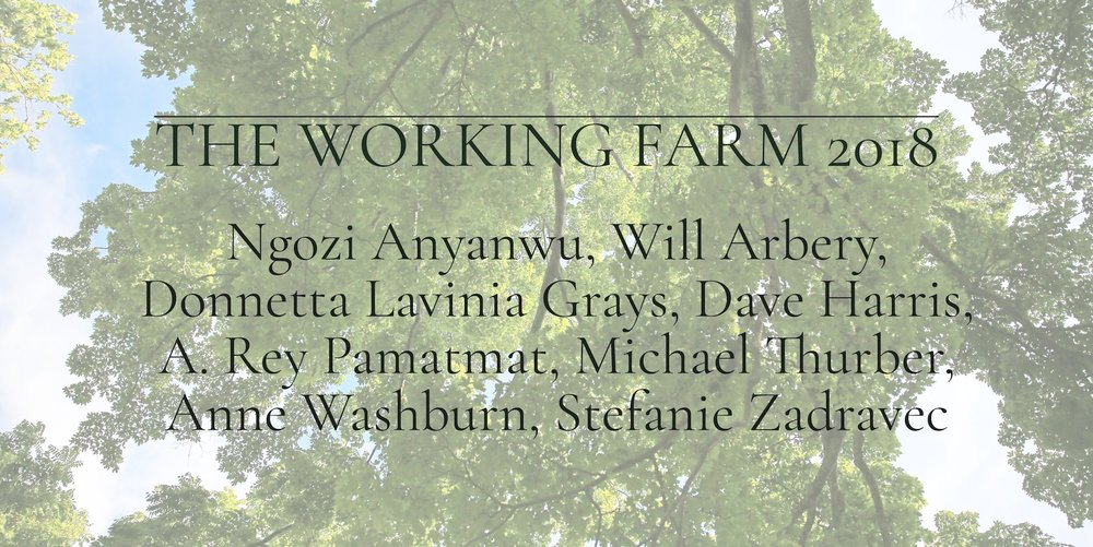 WORKING FARM COMPANY 2018.      Thrilled to break bread with these amazing writers and many others in a  five week residency  at  SPACE on Ryder Farm .  New Play here I come!