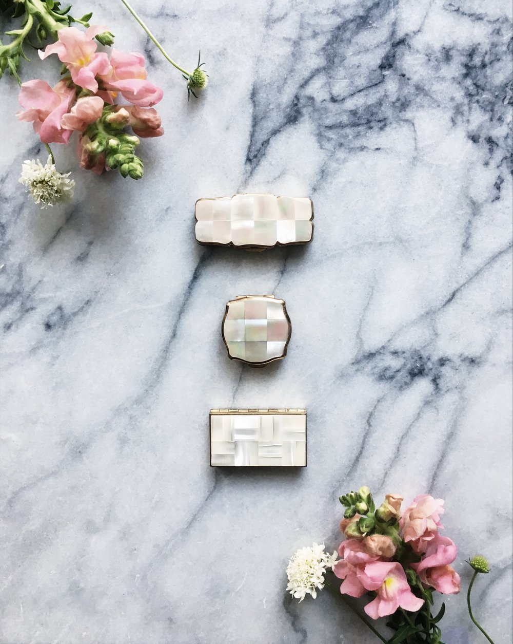 vintage mother-of-pearl solid perfume compacts