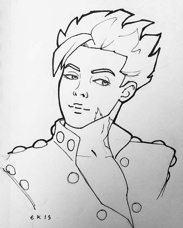 😔 TO THE NICE FAMILY WHO COMMISSIONED ME to draw Ban from Seven Deadly Sins at Steel City Con... ▫️ It's come to my attention this character has a scar which I think I forgot to include in the original sketch. ▫️ I did not get your contact info so please DM me your address and I'll mail you another sketch free of charge. 🙂