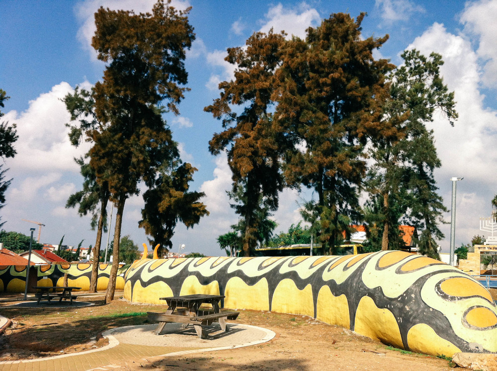 This giant caterpillar at a playground in Sderot is actually a bomb shelter