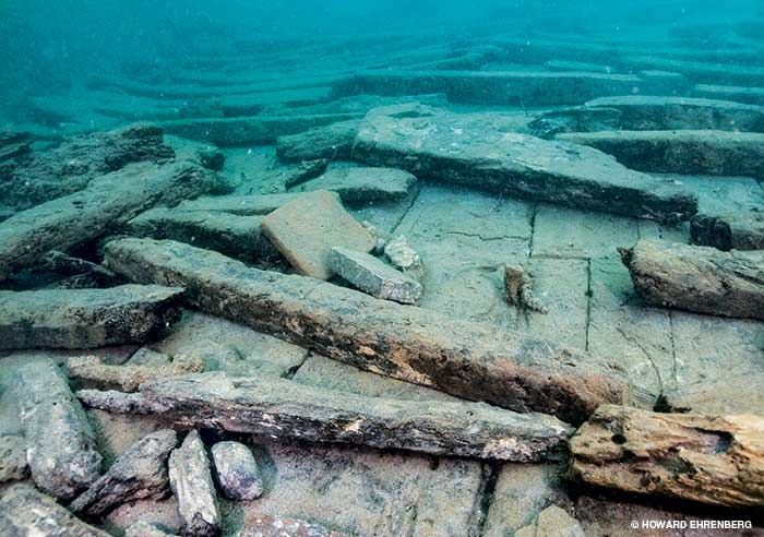The collapsed hull of the Golden Fleece after excavation.www.alertdiver.com