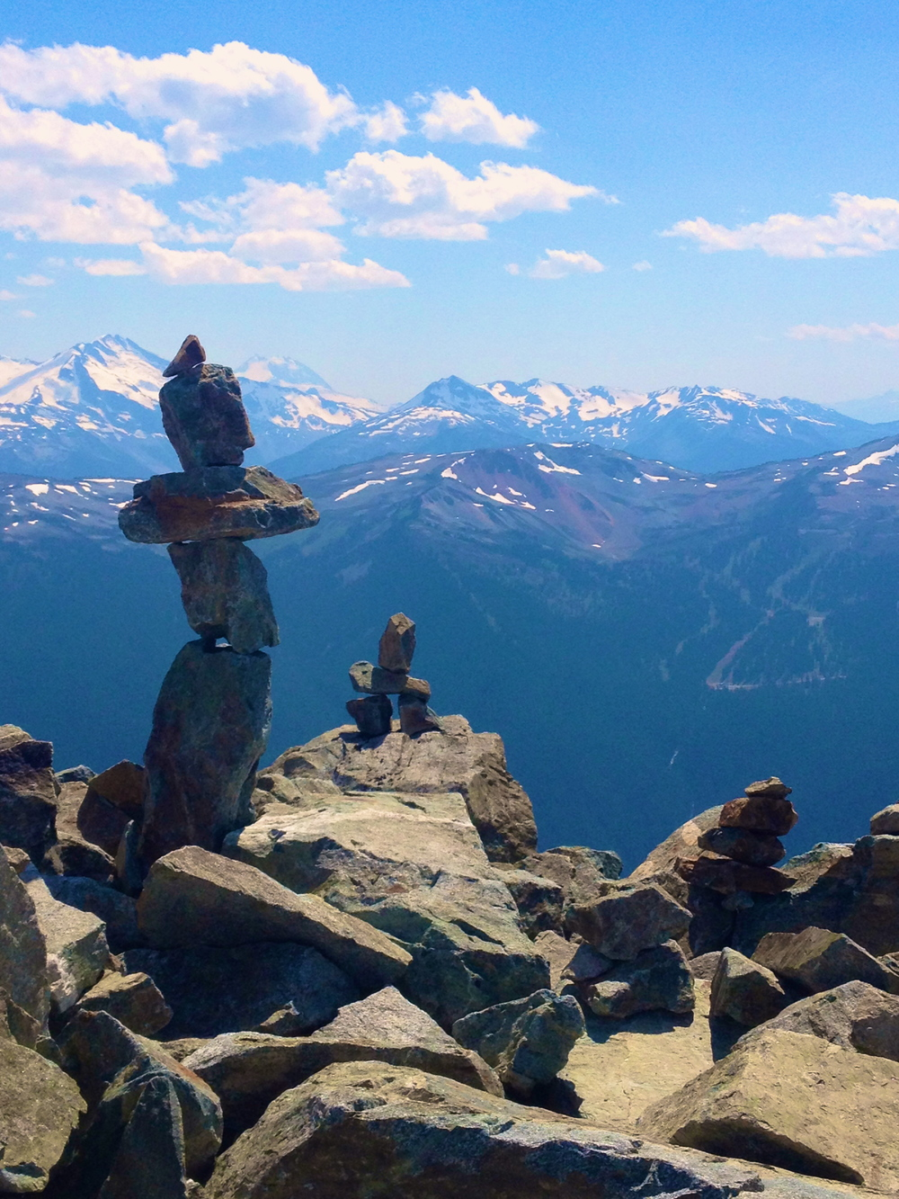 """Inukshuk """"you are on the right path""""...The beckoning majesty of, with noted reverence to, The Cascade Mountains.Whistler, BC, Canada."""
