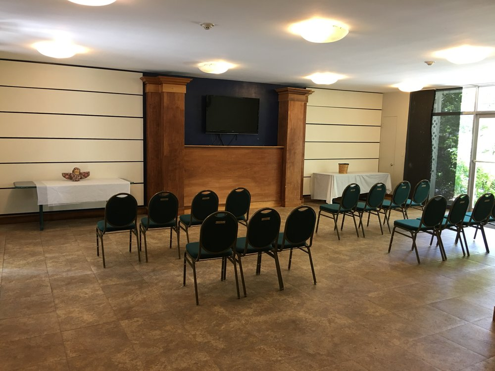 Name: Chapel. Occupancy:60 people. Additional Notes: TV, chairs and tables available.