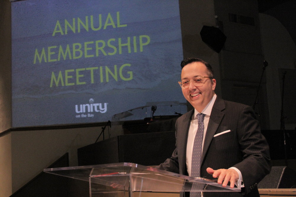 Eddie Dominguez, Board President, speaks to the membership at the 2017 Annual Membership Meeting.