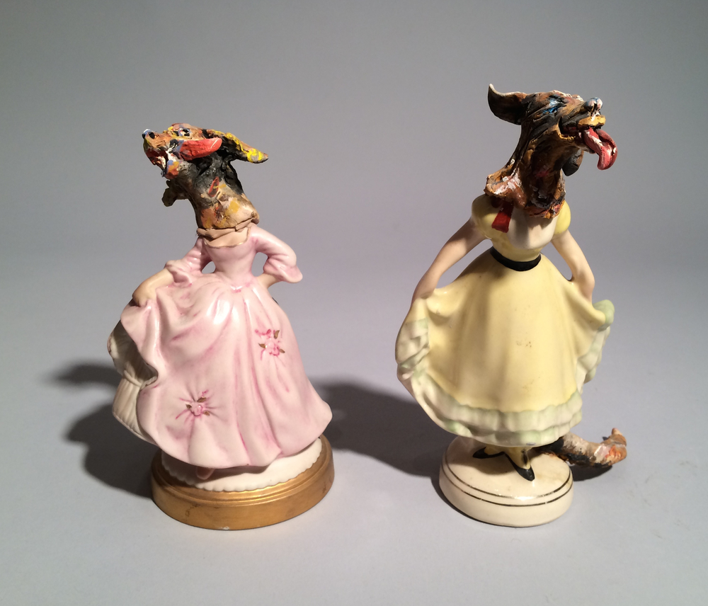 Jack Earl, Figures with Dog Heads, ceramic, found object, porcelain, figurative, Sherrie Gallerie