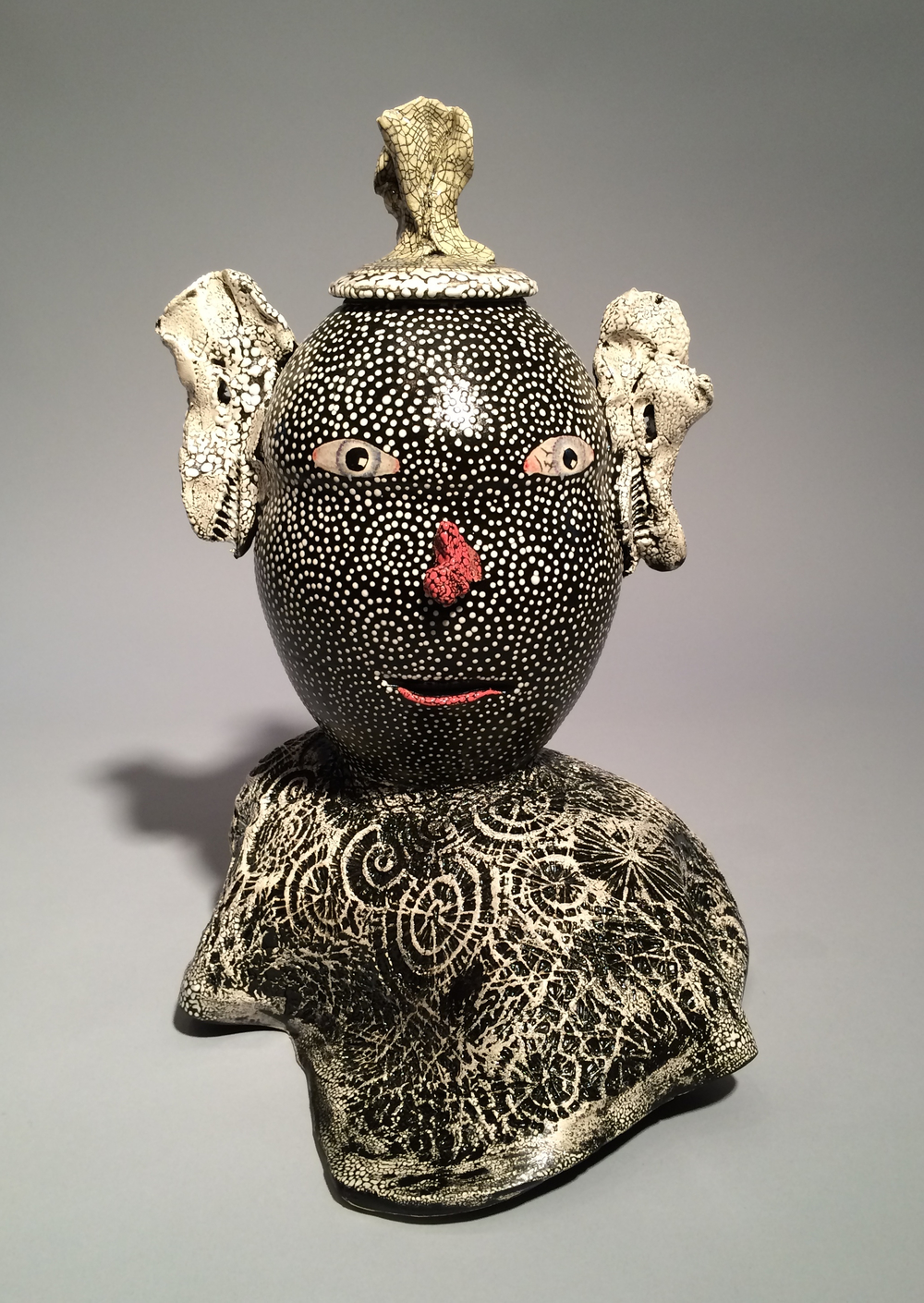 Andy Nasisse, Black Dot Jar, ceramic, Sherrie Gallerie