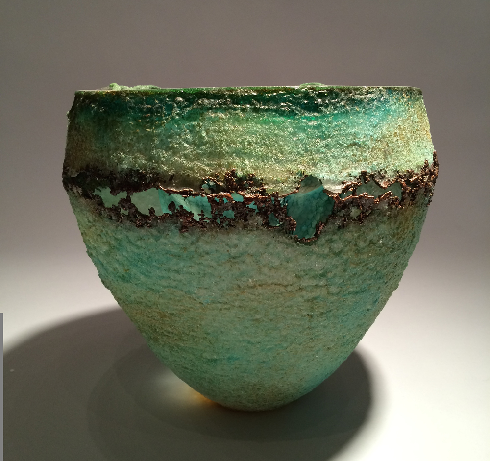 Deanna Clayton, Green Deeper View Vessel, cast glass and copper electroforming, vase, sculpture, Sherrie Gallerie