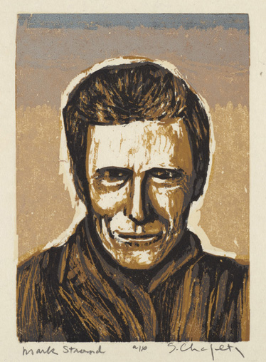 Sid Chafetz, Mark Strand, color woodcut, printmaking, Sherrie Gallerie