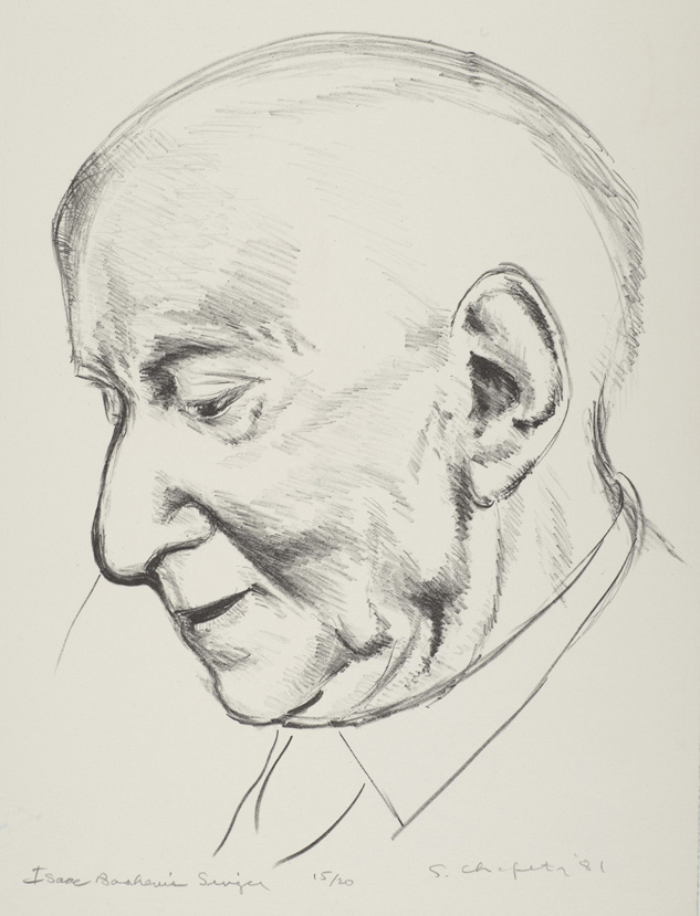 Sid Chafetz, Isaac Bashevis Singer, lithograph, printmaking, Sherrie Gallerie