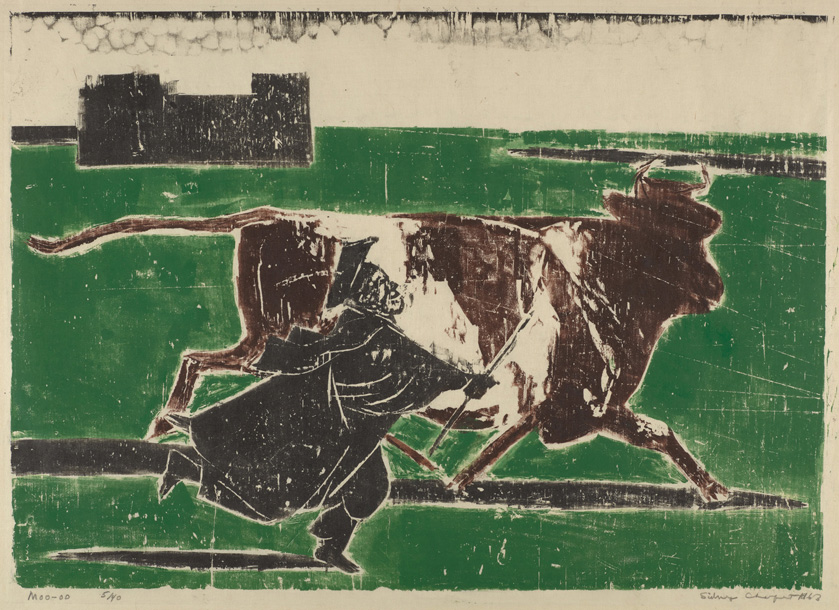 Sid Chafetz, Moo, woodcut, printmaking, Ohio State University, Sherrie Gallerie