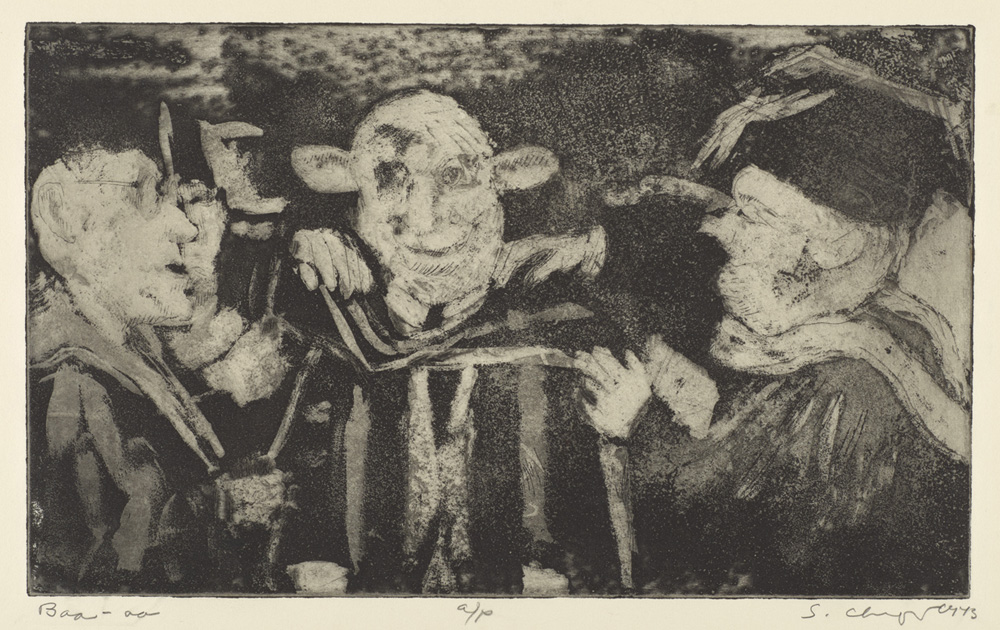 Sid Chafetz, Baa, etching, printmaking, Ohio State University, Sherrie Gallerie