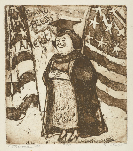 Sid Chafetz, Patriotism II, etching, political,printmaking, Sherrie Gallerie