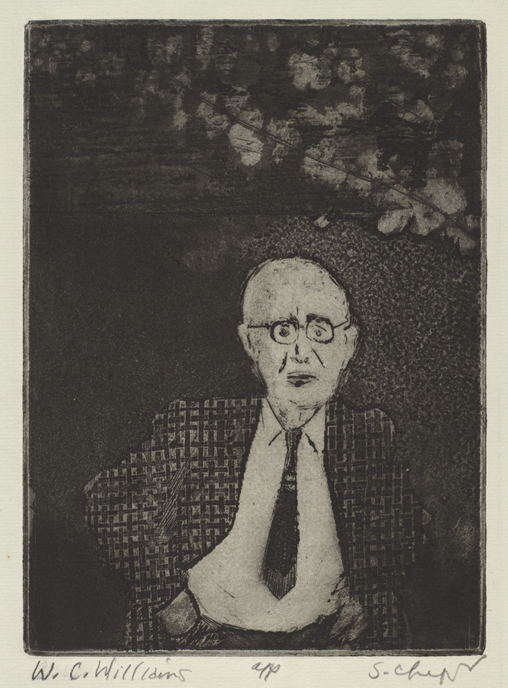 Sid Chafetz, W.C. Williams, etching, printmaking, Sherrie Gallerie