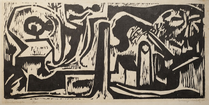 Sid Chafetz, Landscape, woodcut, printmaking, mid century, Sherrie Gallerie
