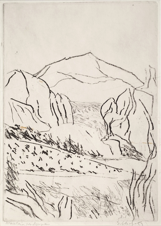 Sid Chafetz, Mountain Landscape, unique etching, printmaking, Sherrie Gallerie