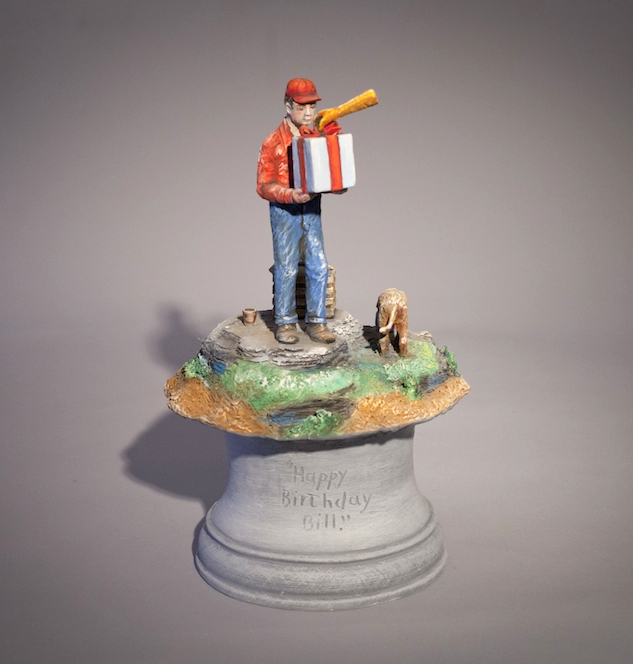 Jack Earl, Happy Birthday Bill, ceramic, Sherrie Gallerie