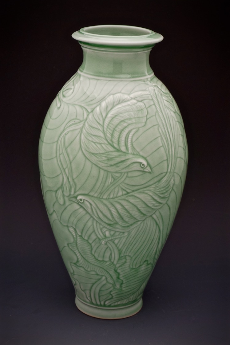 Elaine Coleman, Incised Birds and Leaves Jar, porcelain ceramic, celadon glaze, functional, pottery, Sherrie Gallerie