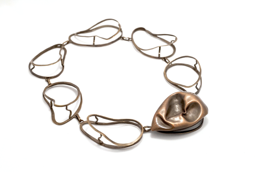 Biba Schutz,Art Jewelry, Necklace, Bronze, Sculpture, Crushed, wearable art,Sherrie Gallerie