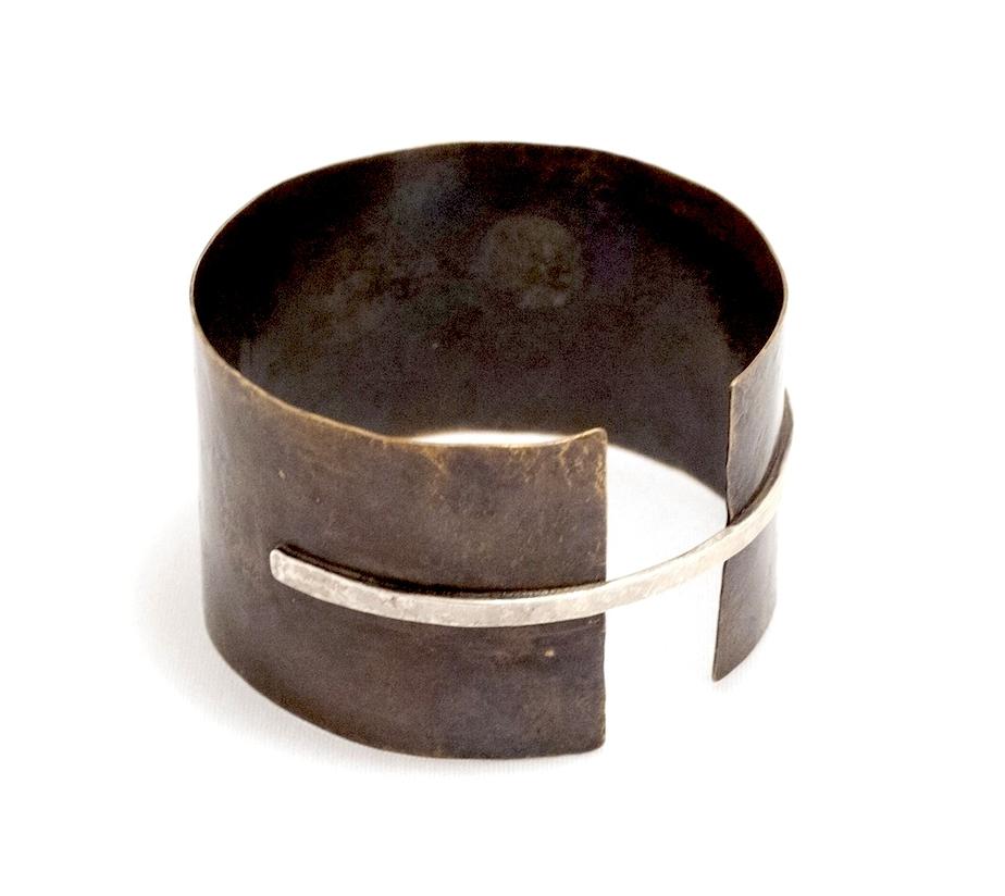 Biba Schutz, Art Jewelry, Bracelet, Cuff, silver, bronze, Wearable, Sherrie Gallerie