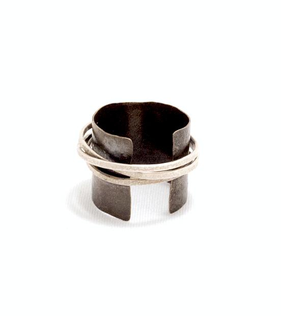 Biba Schutz,Art Jewelry, Ring, Bronze, Silver,Wire Wrap,Sherrie Gallerie